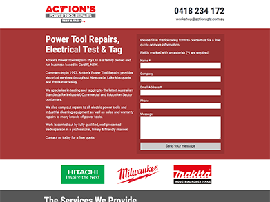 Action's Power Tool Repairs website
