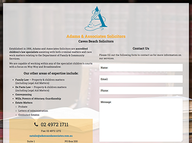 Adams & Associates Solicitors website