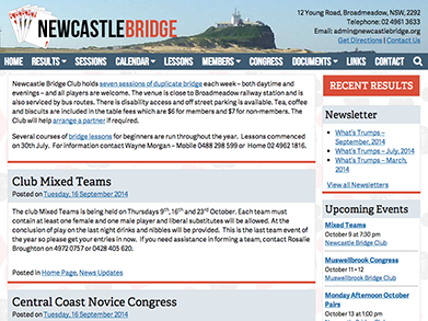 Newcastle Bridge Club website